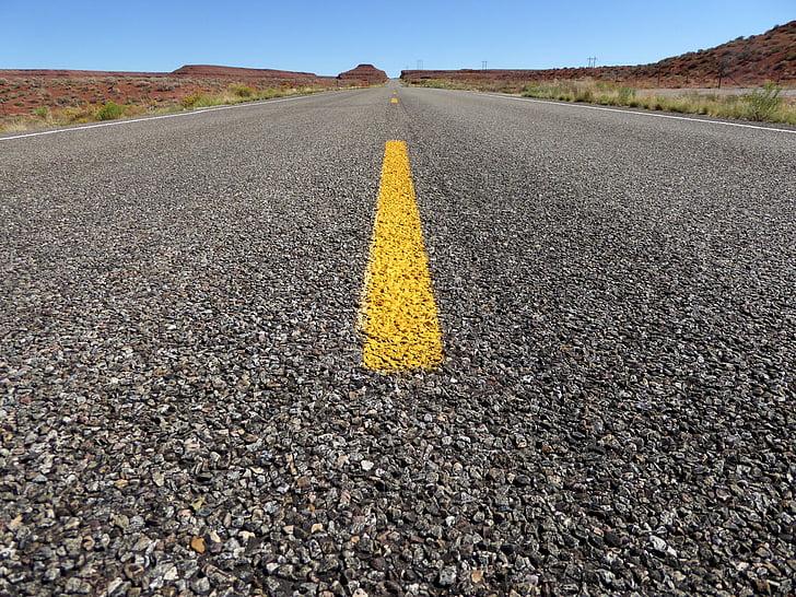 asphalt road at desert