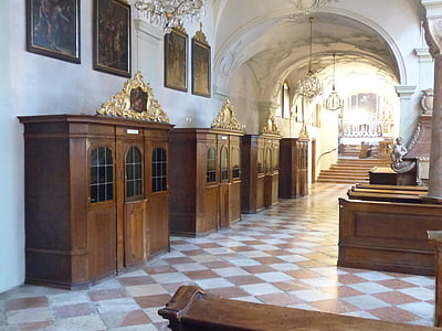 four brown church confession rooms