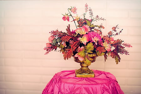 pink petaled flower with vase on table covered with pink tablecloth