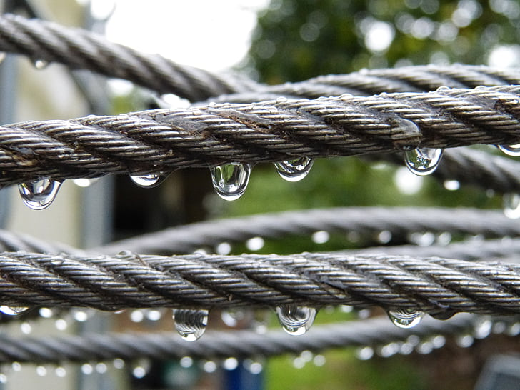 water drops on rope