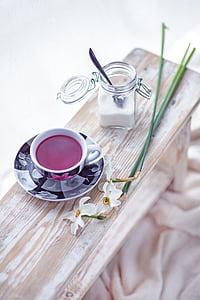 fruit, tea, flowers, sugar, white, cup