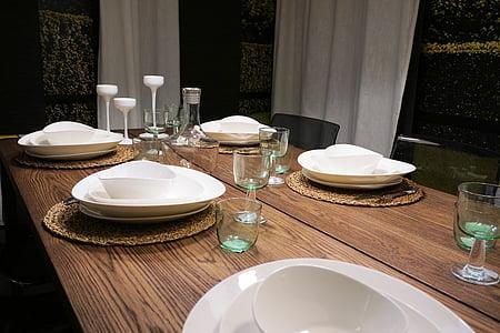 table setup on brown table