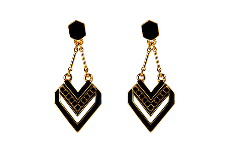 black-and-gold-colored earrings