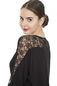 woman wearing black floral top