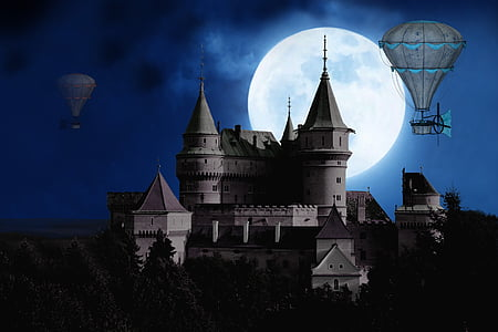 castle with hot air balloons during full moon illustration