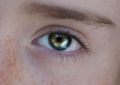 person showing green iris