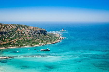 crete, greece, beach, sea, the stones, the sun