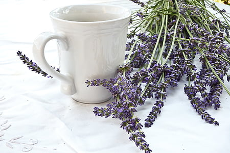 white ceramic cup and purple cluster flower