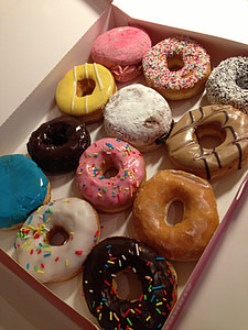 assorted-flavor doughnut with box