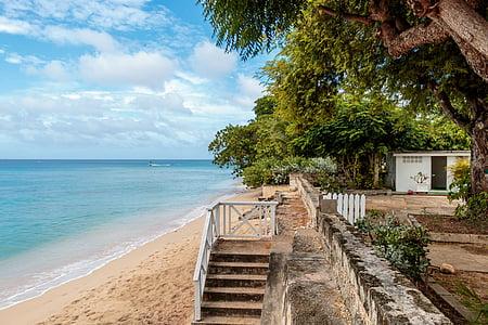 clearwater villa beach, barbados, atlantic ocean, stairs, tropical trees