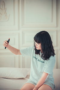 girl, bedroom, selfie, female, fashion, style