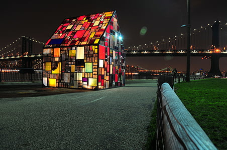 multicolored mosaic LED house