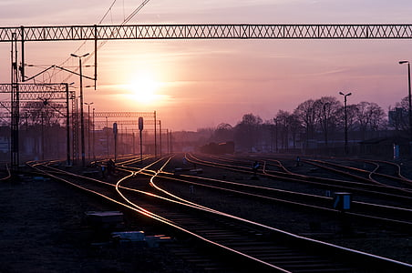 railroad during sunset