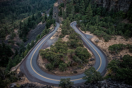 aerial photography of winding road