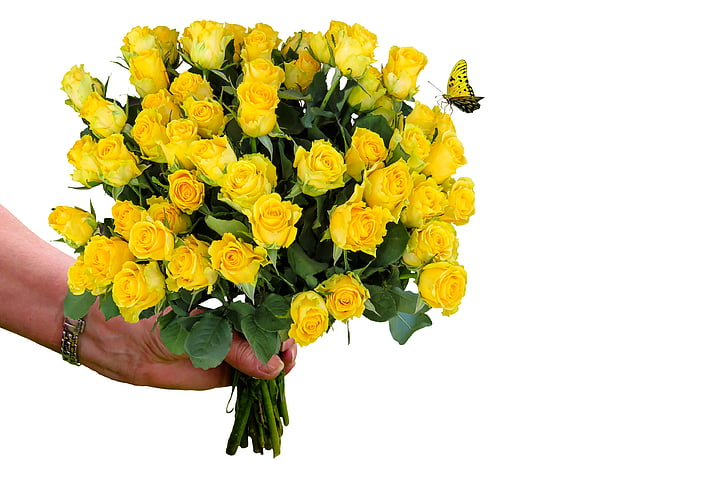Royalty-Free photo: Bouquet of yellow rose flower | PickPik
