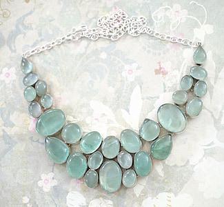 beaded blue gemstone bubble necklace