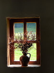 brown ceramic bottle with plants inside and placed on closed window