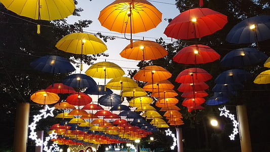 assorted-color lighted umbrellas