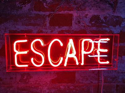 red escape neon light signage