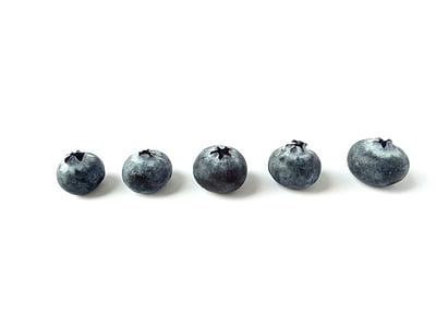 five blueberries