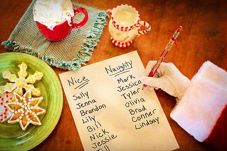 person writing nice and naughty sides