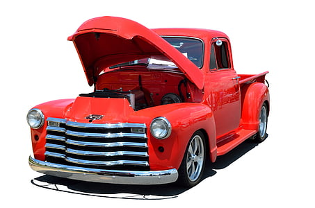 red Chevrolet C100 pickup truck