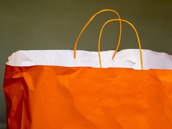 orange tote paper bag