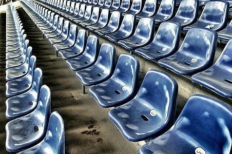 row of blue gang chair