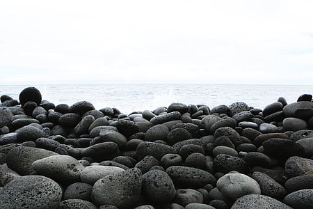 gray shore rocks near body of water at daytime