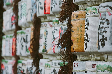 white and brown Kanji scripted columns selective focus photo