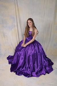 woman in purple satin tube long dress