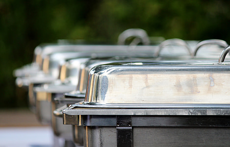 gray stainless steel chafing dishes