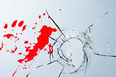 burglary, glass, blood, injury, crime, disc