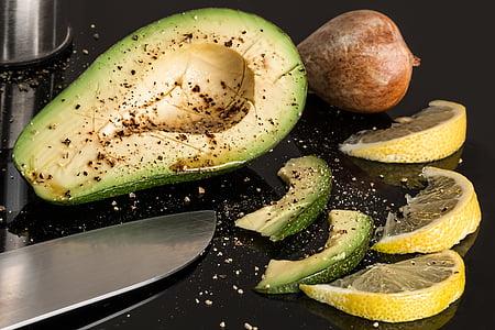 sliced avocado and lemon fruits
