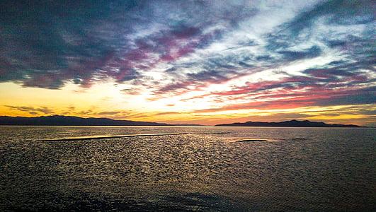 body of water taken at sunset