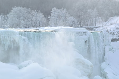 landscape photography of frosted waterfalls