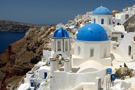 white and blue Santorini, Greece