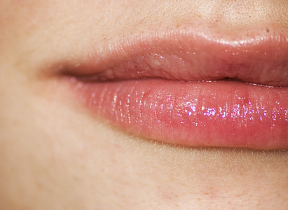 close up photo of person's lips