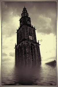 tower clock on water
