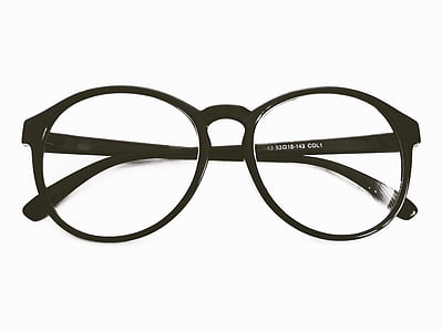 eyeglass with black frame in white background
