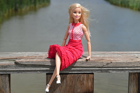Barbie doll sitting on brown wood board