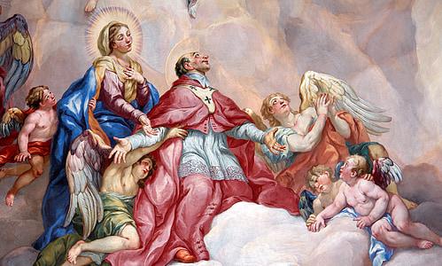 cover painting, intercessory prayer, religion, holy virgin mary, catholic church, faith