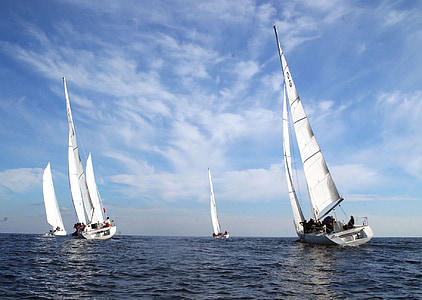 four white sail boats on body of water