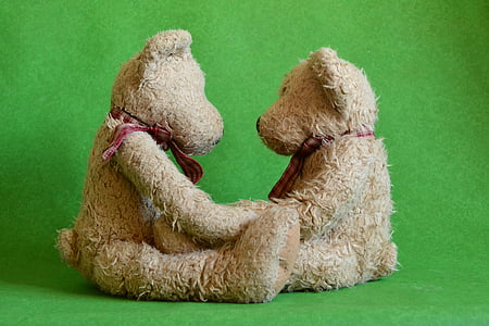 two brown bear plush toys facing each other