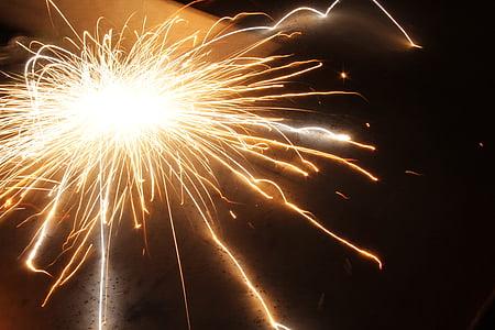 flame sparks on black metal board