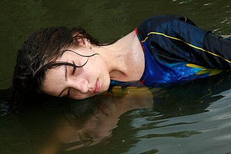 mermaid, water, girl, reflection, mirror, swim