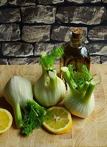vegetables beside sliced lemon