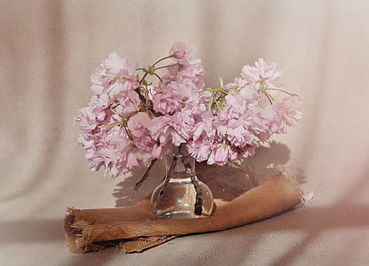 pink cluster flowers centerpiece in closeup photo