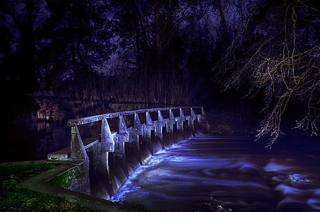 landscape photography of bridge and river during nighttime