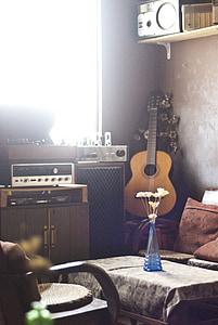 brown classical guitar